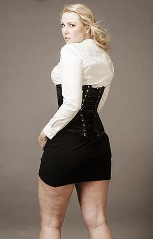 """Underbust Black Satin """"Empress"""" (extra long, wider over the hips)"""