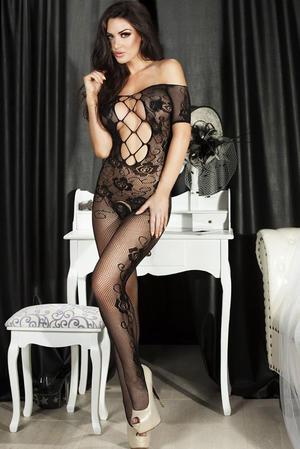 Open Crotch Rose Body Stocking