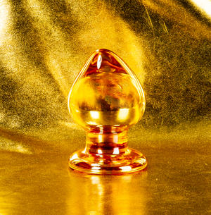Round Big Golden Glass Butt Plug