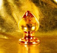 Rund Stor Gyllene Glas Analplugg