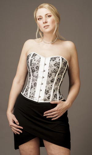 Overbust White Satin with Black Lace