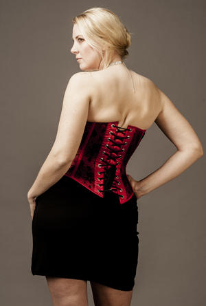 Overbust Red Satin with Black Lace