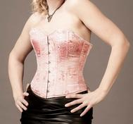 Overbust Pink Brocade Satin with Black Edging