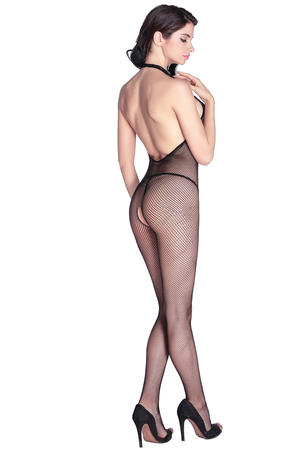 Stretch Fishnet Halter Body Stocking