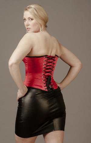 Overbust Red Satin with Black Edge