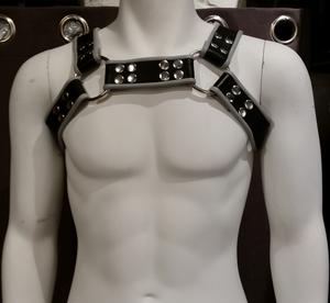 Läderharness Bröst Grå/Svart
