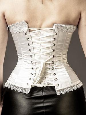 Overbust White Satin with Lace Edge