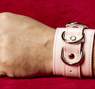 Pink Hand Cuffs in PU Leather