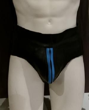 Leather Jocks with Zipper and Light Blue Stripe