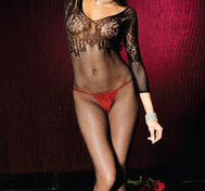 Lace applique fishnet bodystocking