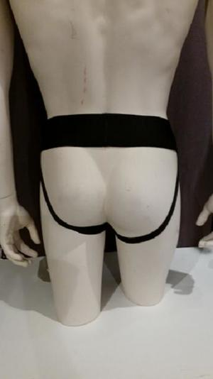 Leather Jocks with Zipper and Dark Blue Stripe