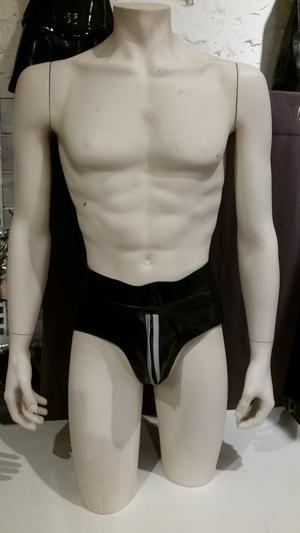 Leather Jocks with Zipper and Grey Stripe