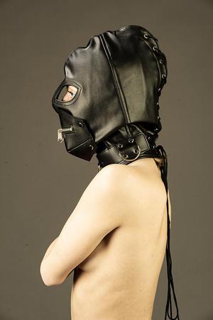 Black PU leather hood