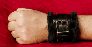 Black Lockable Handcuff with Fur