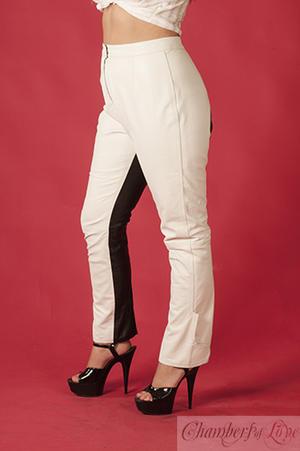 Black / white leather pants