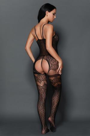Black sheer leopard net bodystocking