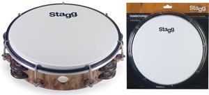 "8""Tambourine 2Rw Jg/Plst Wood"