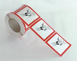 Varselmerke Eksplosjonsfarlig GHS 01-10x10 cm