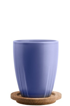 Bruk Mug Blue Lilac with oak lid 2-pack