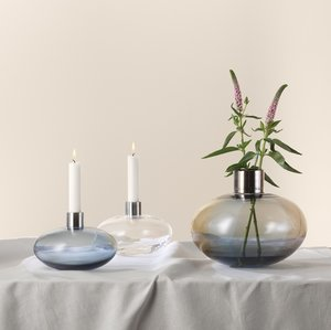 Pluto Candle Holder Grey - Kosta Boda
