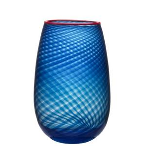Red Rim Vase Large Blue - Kosta Boda