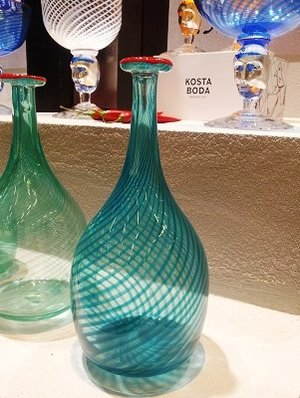 Red Rim Bottle Green - Kosta Boda