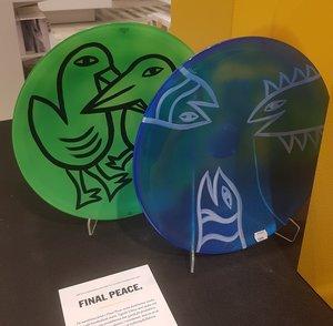 Final Piece  Peace  Plate Fish Blue - Kosta Boda