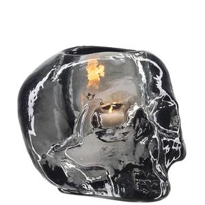 Still Life Votive Grey  Skull - Kosta Boda