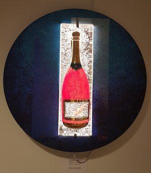 Champagne Bottle Bird Sparkling Blue - Kosta Boda