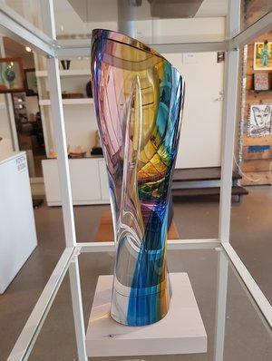 Rainbow Sculpture Red Yellow Blue - Kosta Boda Limited