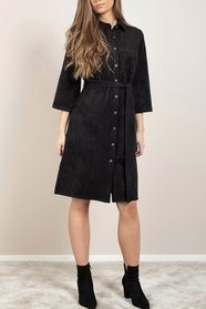 Gullis Dress Black Faux Suede