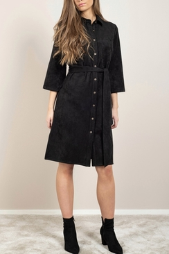 Gullis Dress Black Faux Suede