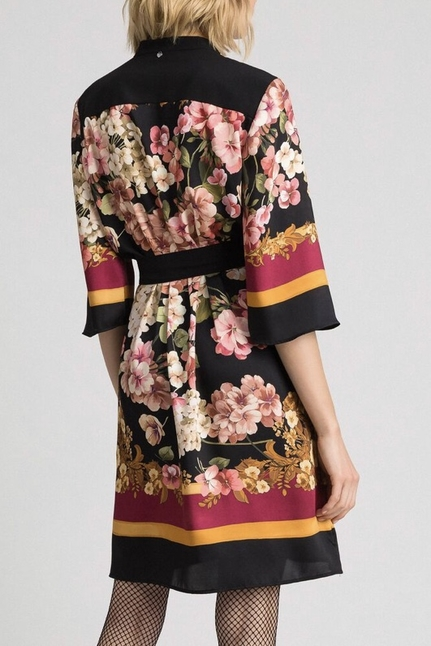 Shirt Dress With Floral Scarf Print