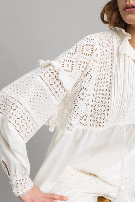 Broderie Anglaise And Ruffle Blouse