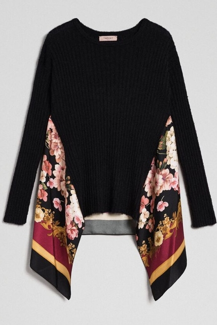 Mohair And Printed Twill Jumper
