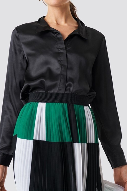 Rebecka Satin Shirt Black