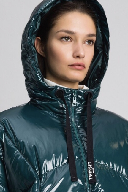 Short Quilted Puffer Jacket With Real Down