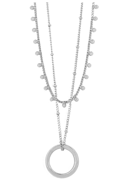 Indian Circle Necklace Rhodium Plated