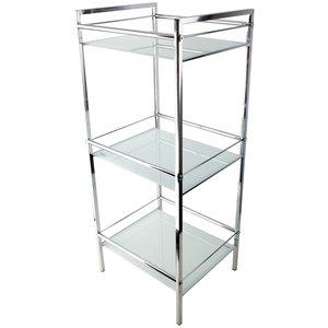 Stojak łazienkowy szklany 3 półki biały