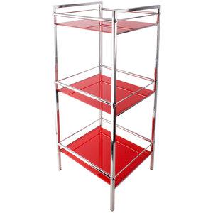 Stojak łazienkowy szklany 3 półki czerwony