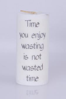 Doftljus Ord cylinderljus stearin Time you enjoy  White/Driftwood 70x150 mm