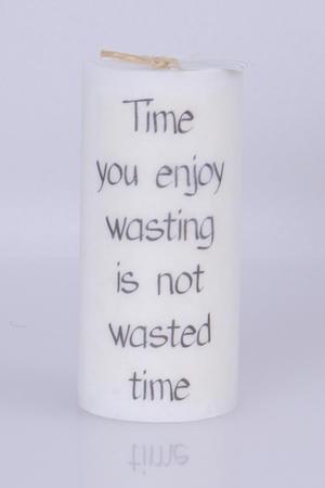 Doftljus Ord cylinderljus stearin Time you enjoy  White/Driftwood 70x150 mm