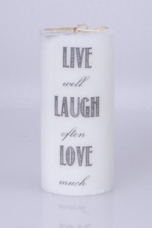 Doftljus Ord cylinderljus stearin Live well  White/Spring rain 70x150 mm