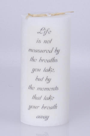 Doftljus Ord cylinderljus stearin Life is not measured White/Pure 70x150 mm