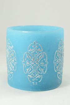 Cylinderljus Hollow baroque Blue 150x150 mm
