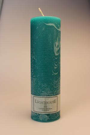 Cylinderljus Rustic Blue Green 60x200 mm