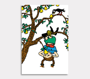 Pippi Longstocking climbs the pear tree