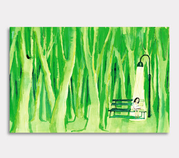 Girl on bench in the woods - canvas painting