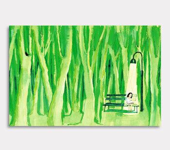 Läsande flicka i skogen – canvastavla