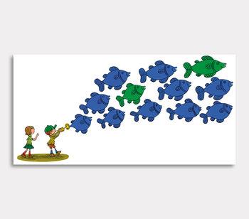 Tavla, – Blå och gröna fiskar.